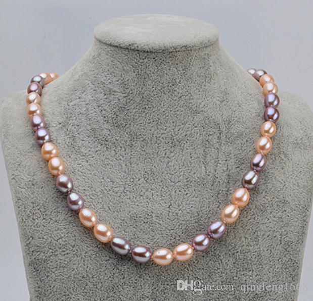 Commercio all'ingrosso 7-8mm south sea Rice forma rosa viola colore misto collana di perle naturali 17inch 925 chiusura in argento QX-903