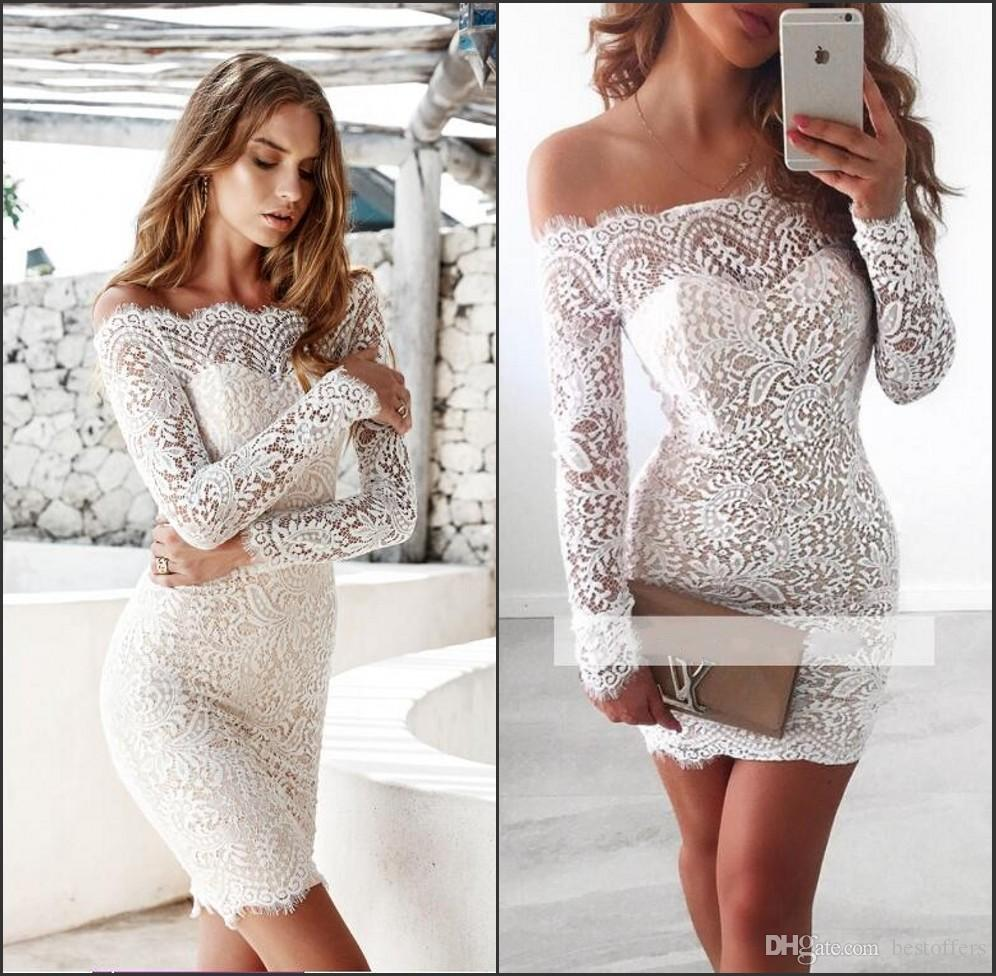 Full Lace Cocktail Dresses With Sleeves Lace Mermaid Short Evening Dresses Below 100 Knee Length Off the Shoulder Homecoming Prom Gowns