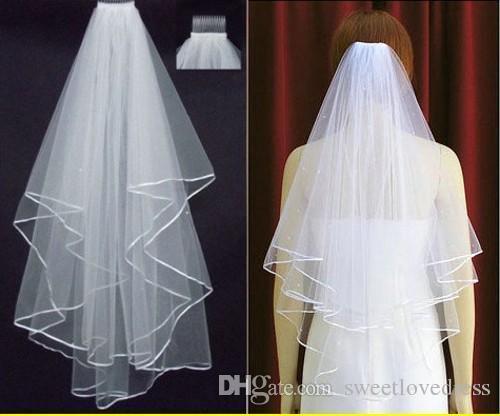 Ücretsiz Kargo 2019 Beyaz Fildişi Gelin Veils 2 Katmanlar Ile Tarak İnciler Şerit Kenar Tül Peçe Kilise Düğün Gelin için Stokta