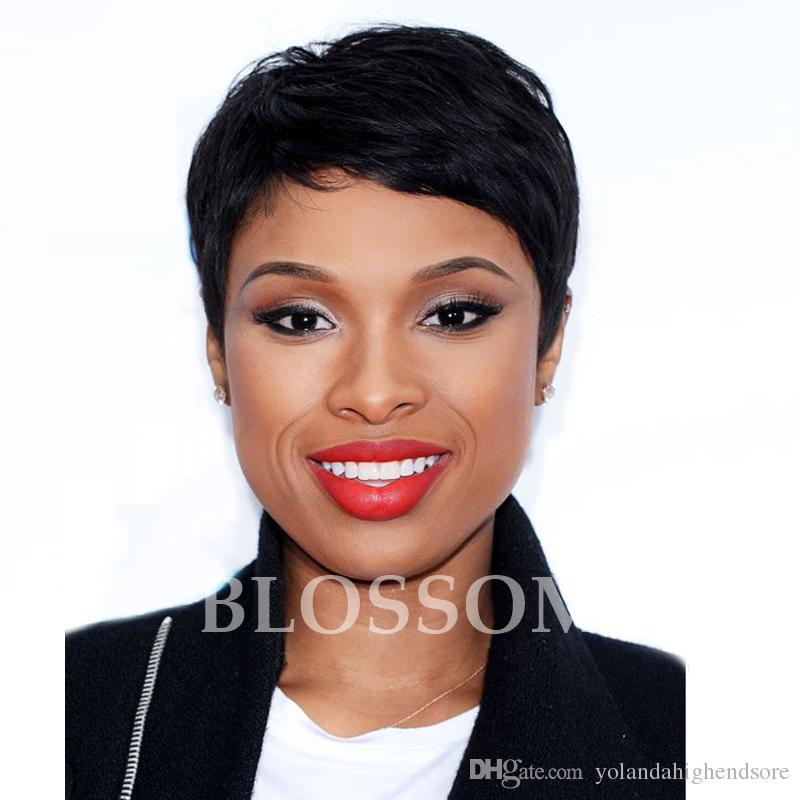 Rihanna Hairstyles Brazilian Human Short Hair Wigs African Americans Black Short Full Hair Lace Wig Glueless Wig For Black Women