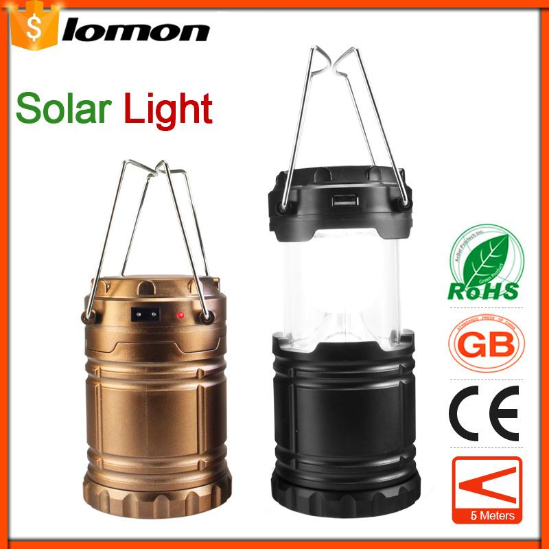 6 LED Solar Telescopic Camping Lantern Portable Lights Mobile Phone Charger USB Multifunctional Rechargeable Flashlight Outdoor Emergency