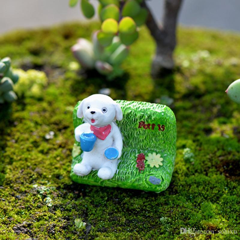 2pcs Home Decor Accessories Zakka Dog Figurines Fairy Garden Miniatures Statue Bonsai Tools terrarium Resin Crafts Micro Landscape Jardin