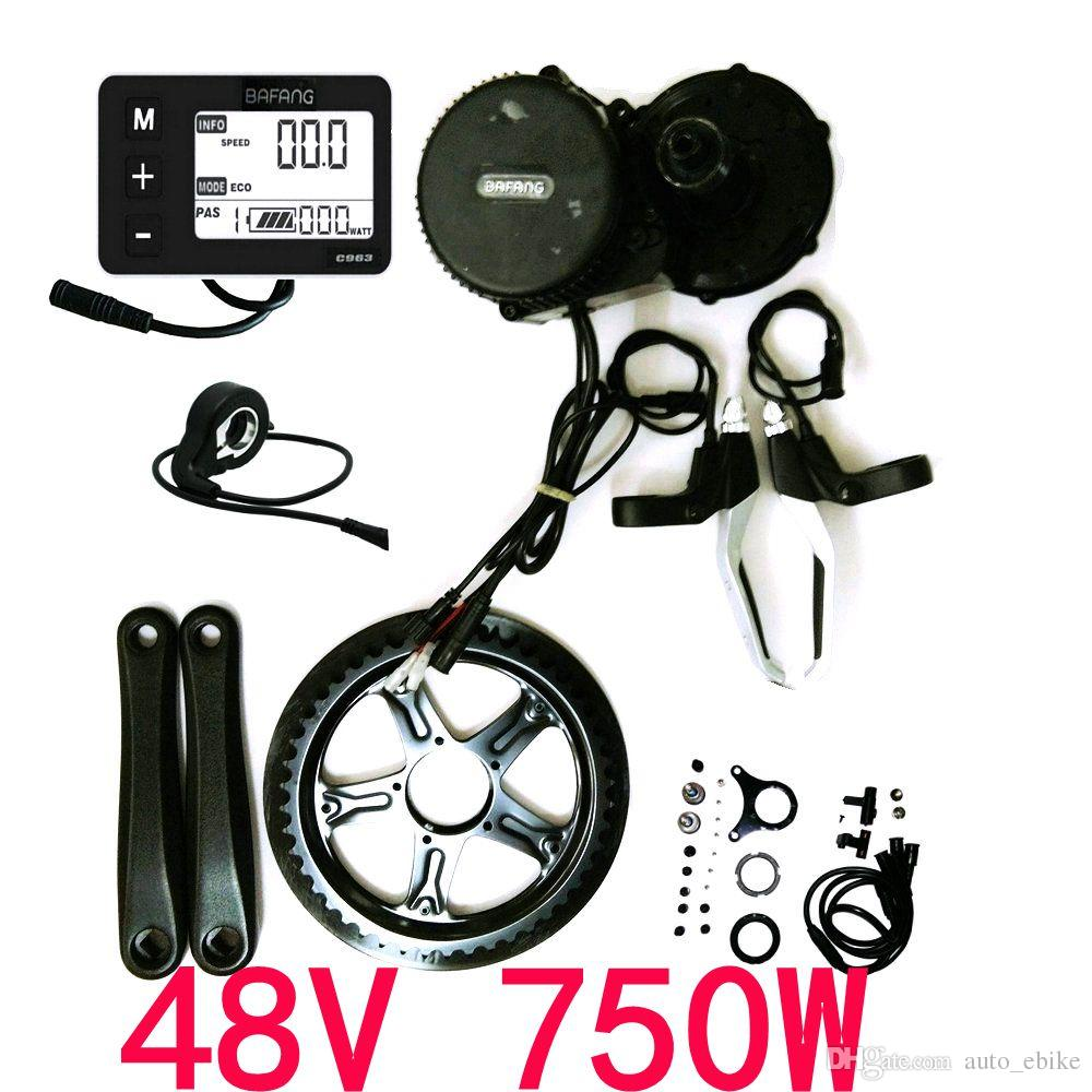 48V 750W 8fun/Bafang Mid Drive Central Motor 2016 BBS02B Crank Motor Eletric Bicycles Trike Conversion DIY Ebike Kits with C963 LCD Display