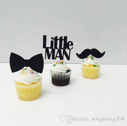 Custom personality 30pcs Little Man Reveal Cupcake Toppers baby shower boy birthday Party Decoration food picks Event Party Supplies