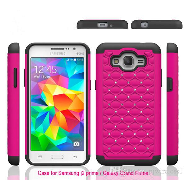 the best attitude 30c02 1faee Armor Case For Samsung Galaxy J2 Prime Grand Prime Bling Diamond Starry  Rubber PC + Silicone Hybrid Rhinestone Phone Cover Glitter Cell Phone Cases  ...