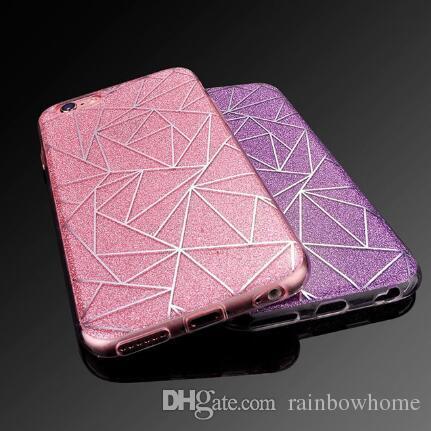 Custodia morbida in silicone di lusso con glitter arenaria glitter per iPhone XR XS Max X 8 7 6 6S Plus Cover trasparente in TPU trasparente