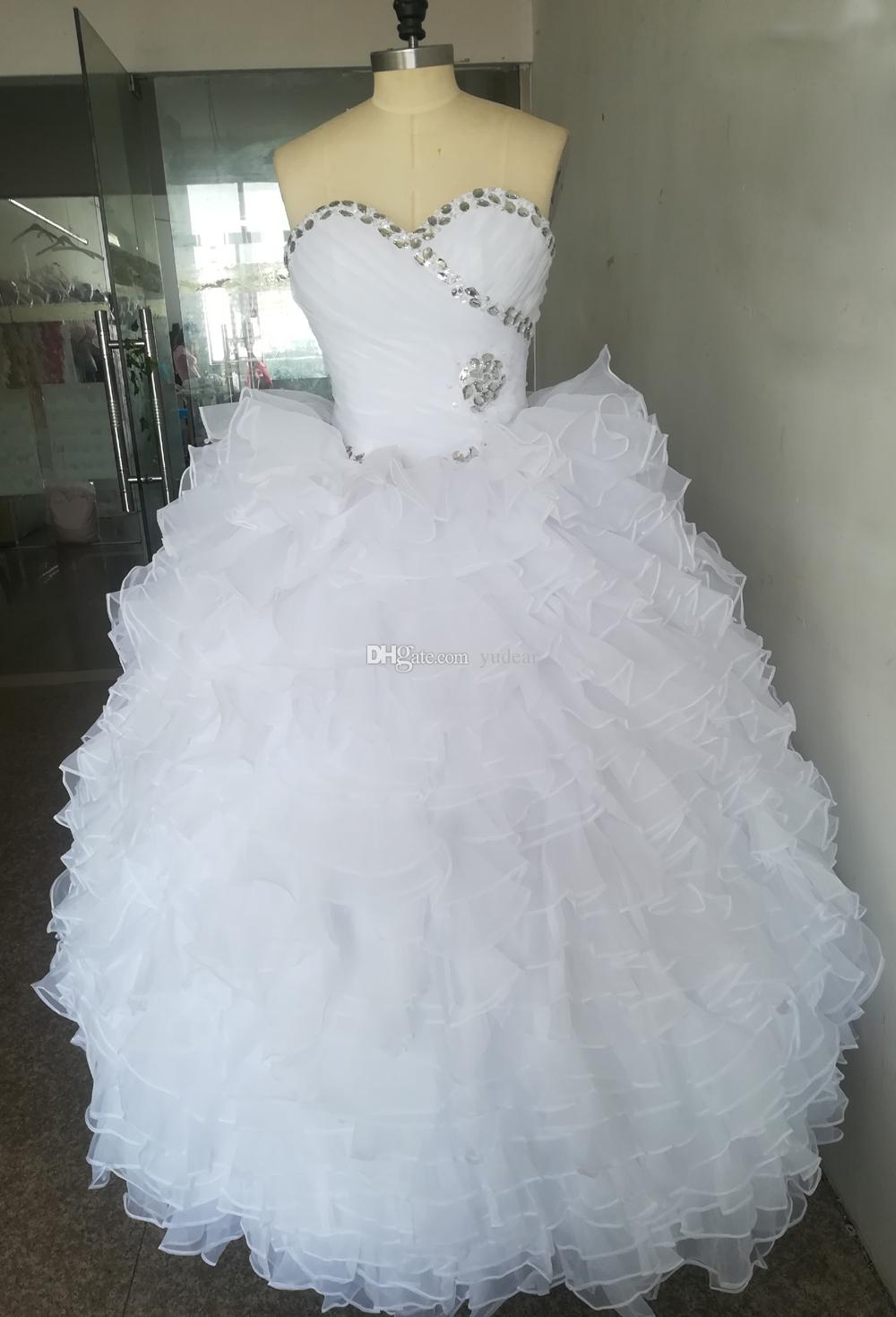 2019 New Good in Stock White Organza Quinceanera Dresses Sweet 15 Ball Gown Cascading Ruffles Prom Dresses Draped and Rhinestones Party Gown