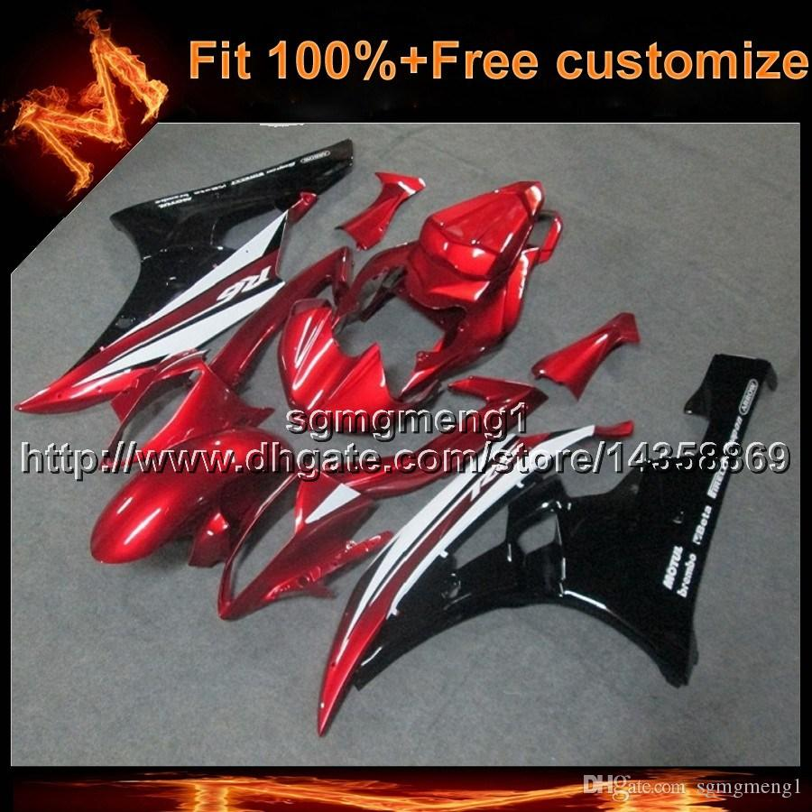 23colors+8Gifts Injection mold RED motorcycle cowl for Yamaha YZF-R6 2006-2007 06 07 YZFR6 bodywork ABS Plastic Fairing