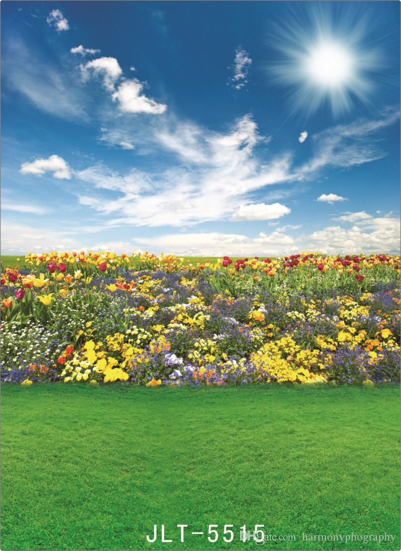 spring sunshine flower field computer printed photography backdrops vinyl cloth backgrounds photocall for wedding children for photo studio