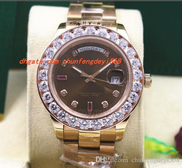 호화로운 시계 118205 남자 시계 에버 로즈 골드 초콜릿 다이아몬드 루비 41MM 큰 다이아몬드 시계 자동 태엽 시계