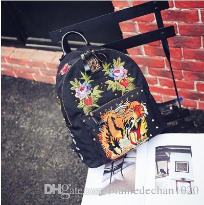 Вышивка JTXS Товары Подлинная сумка на плечо рюкзак Корейская версия женской приливной ткани Личности Глава BA Тигр Оксфорд Спиннинг K УДХХ