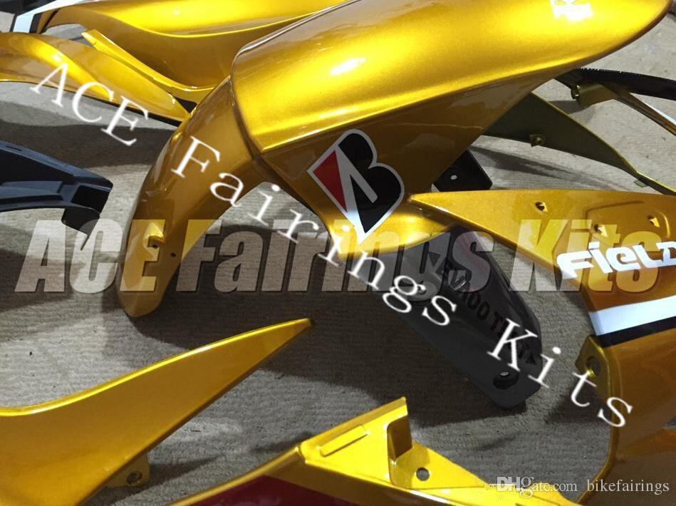 Three Free Beautiful Gift New High Quality ABS Injection Fairing Plates For  Kawasaki Ninja ZX6R 599 636 2013 2016 Bodywork Set Gold White Motorcycle