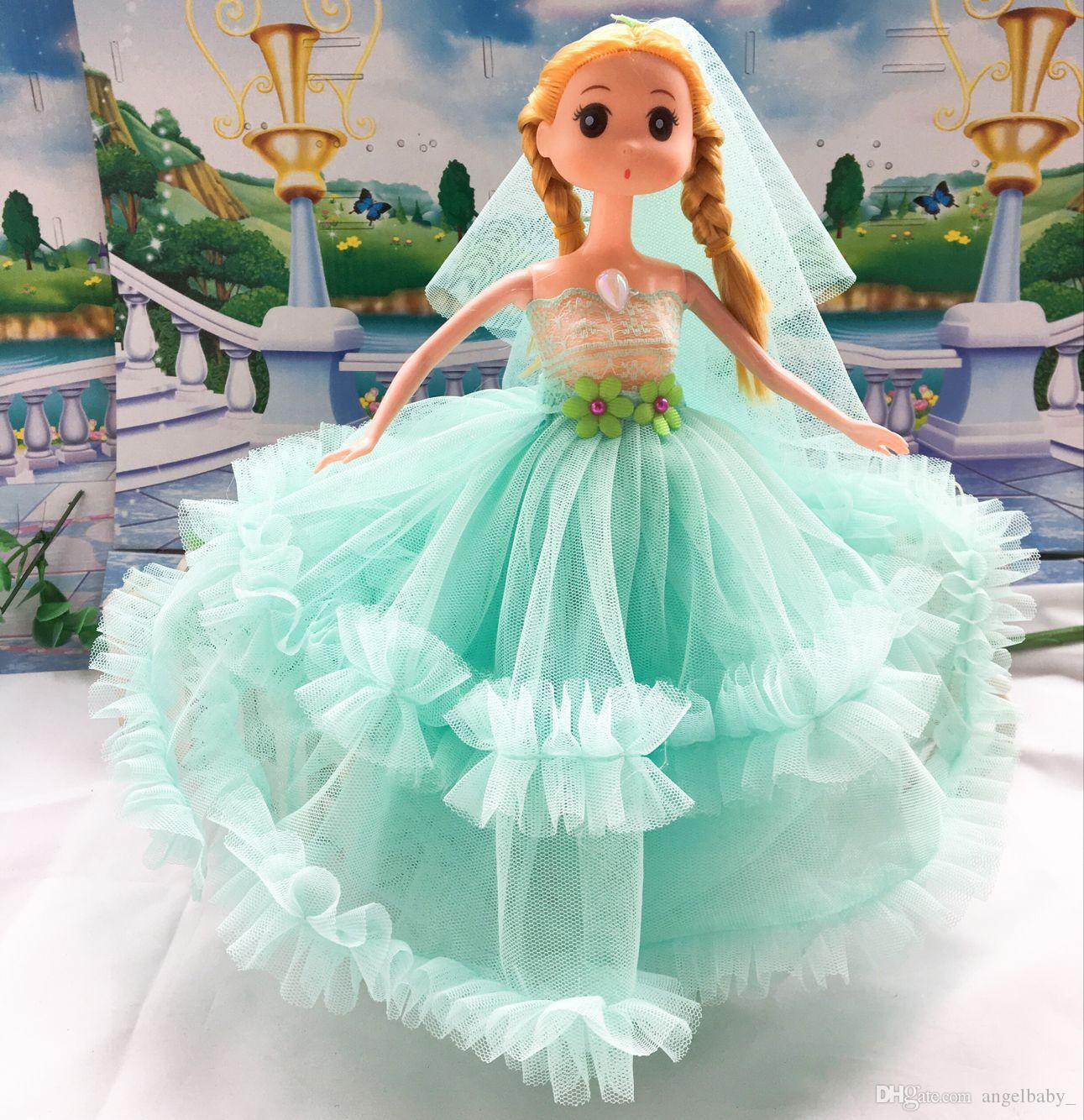 2017 New Girl Gifts Barbie Doll Wedding Dress Lace Birthday Present ...