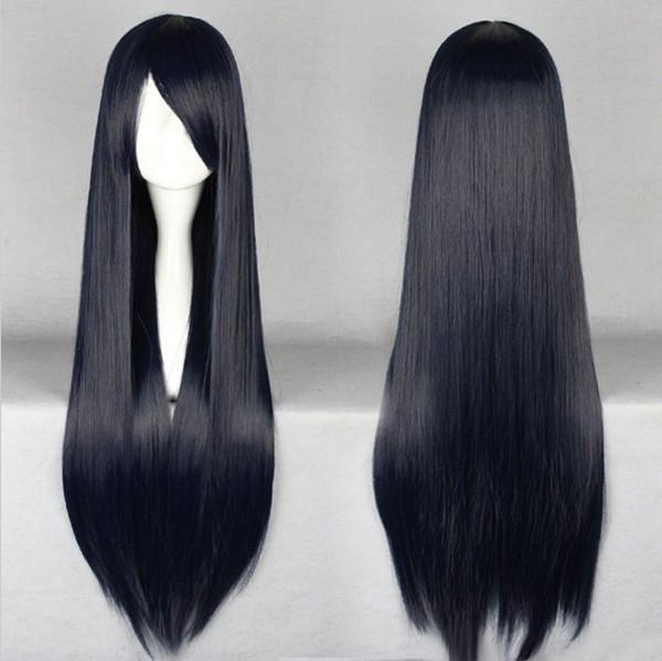 MCOSER Harajuku 80cm largo negro moda mujeres pelo sintético a prueba de calor Cosplay partido Anime peluca llena