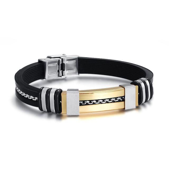 Mode Männer Armband Großhandel Gold Farbe Charme Und Schwarz Silikon Sport Armband Armband Armbänder Für Männer Schmuck