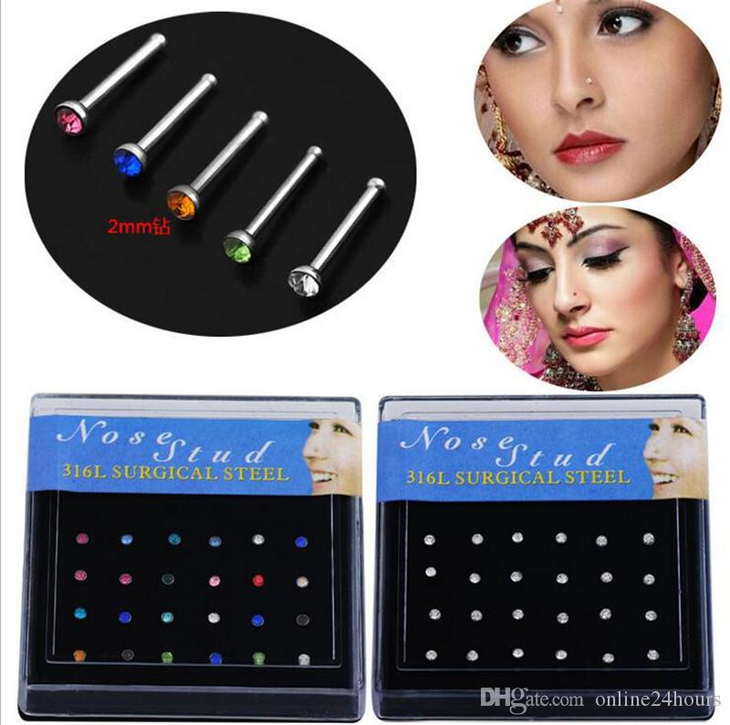 2017 Hot Wholesale Surgical Steel Small Nose Ring Fashion Body Jewelry 8MM Length Nose Studs Stainless Piercing Crystal Stud Free Shipping