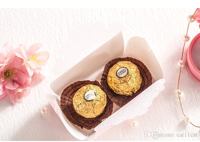 Boîte brillante de faveur de sucrerie de mariage de couronne d'or rose, par Wishmade