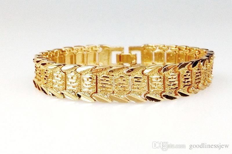 Bracciali bangle Piuttosto bracciale in oro giallo 18 carati riempito con braccialetti per orologio da polso in oro massiccio 8,3 pollici