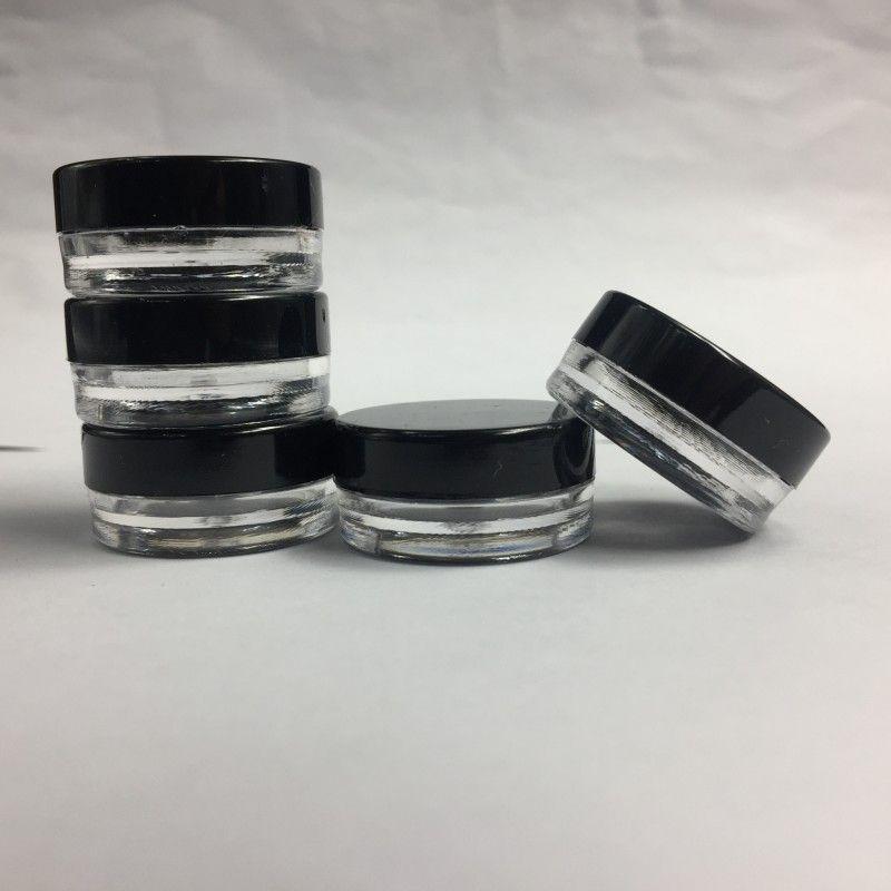 3 ML/3 CC Empty Plastic Clear Pot Bottle Round Black Screw Cap Lid Cosmetic Cream Jar For Makeup Eye Shadow Nails Powder