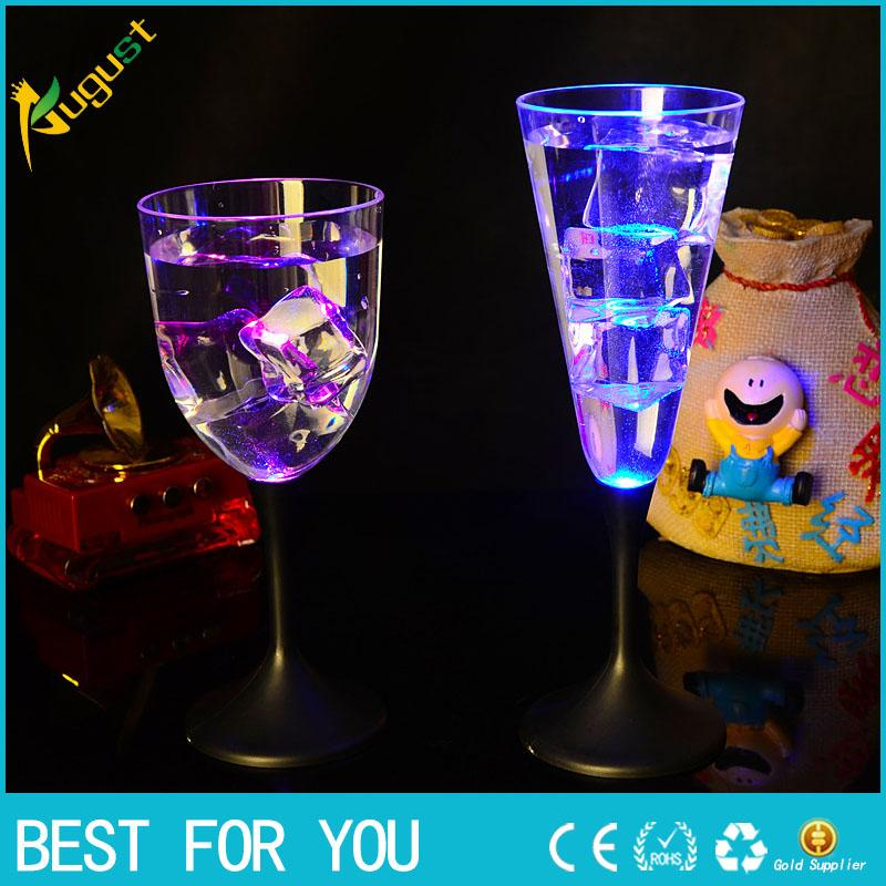 6pcs/set Water Inductive LED Cup Glowing Champagne Beer Wine Drink Liquid Fruit Juice Glass Mug Festival Party Creative Gift