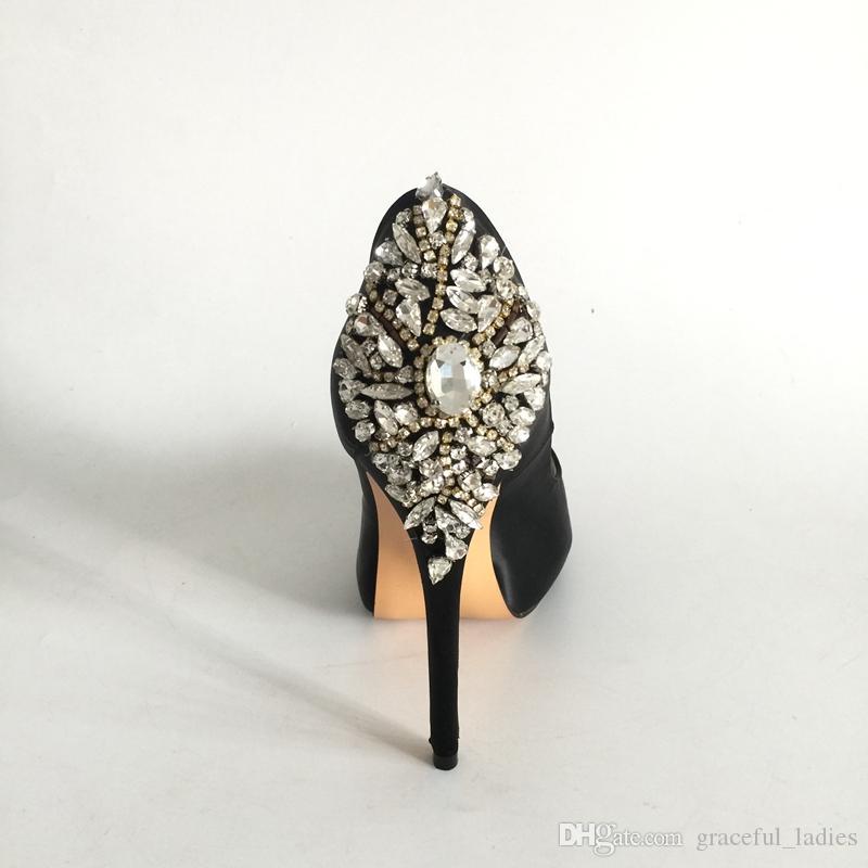 Crystals Black Wedding Shoes Bride
