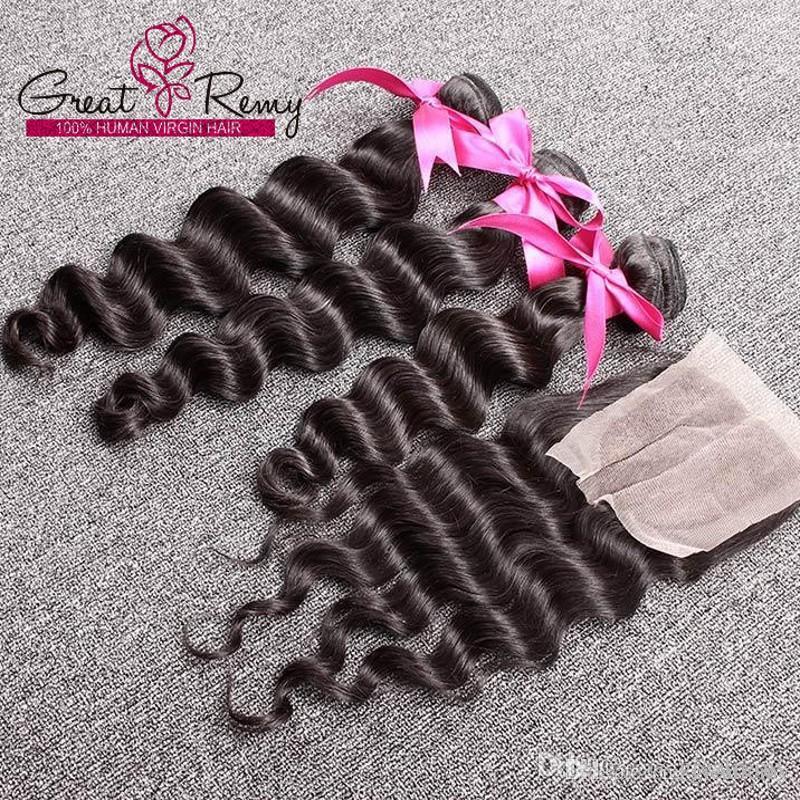 """3 قطع بيرو نسج الشعر ملحقات اللون الطبيعي متموجة فضفاضة موجة عميقة 1 قطعة الجزء الأوسط أعلى الدانتيل إغلاق 4 """"x4"""" مع حزم الشعر"""