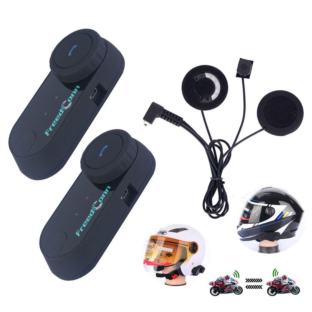 FreedConn 2Pcs / Set Radio FM Rider pour Rider Interphone Casque de moto Bluetooth BT Intercom Casque Casque Bluetooth Intercom Casque