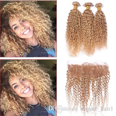 # 27 Медовая Блондинка 13x4 От уха до Уха Полная Кружева Фронтальная Закрытие С Клубничной Блондинкой Странный Вьющиеся Девы Перуанские Пучки Человеческих Волос 4 Шт. Лот