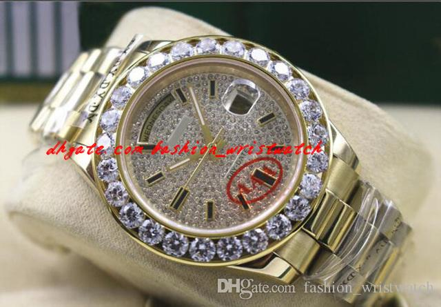 New Quality Luxury Dial Gold Diamond Arrival Top Yellow Wristwatch Movement 41MM Mechanical 18K Bigger Diamond Bezel Watch Wwnjx