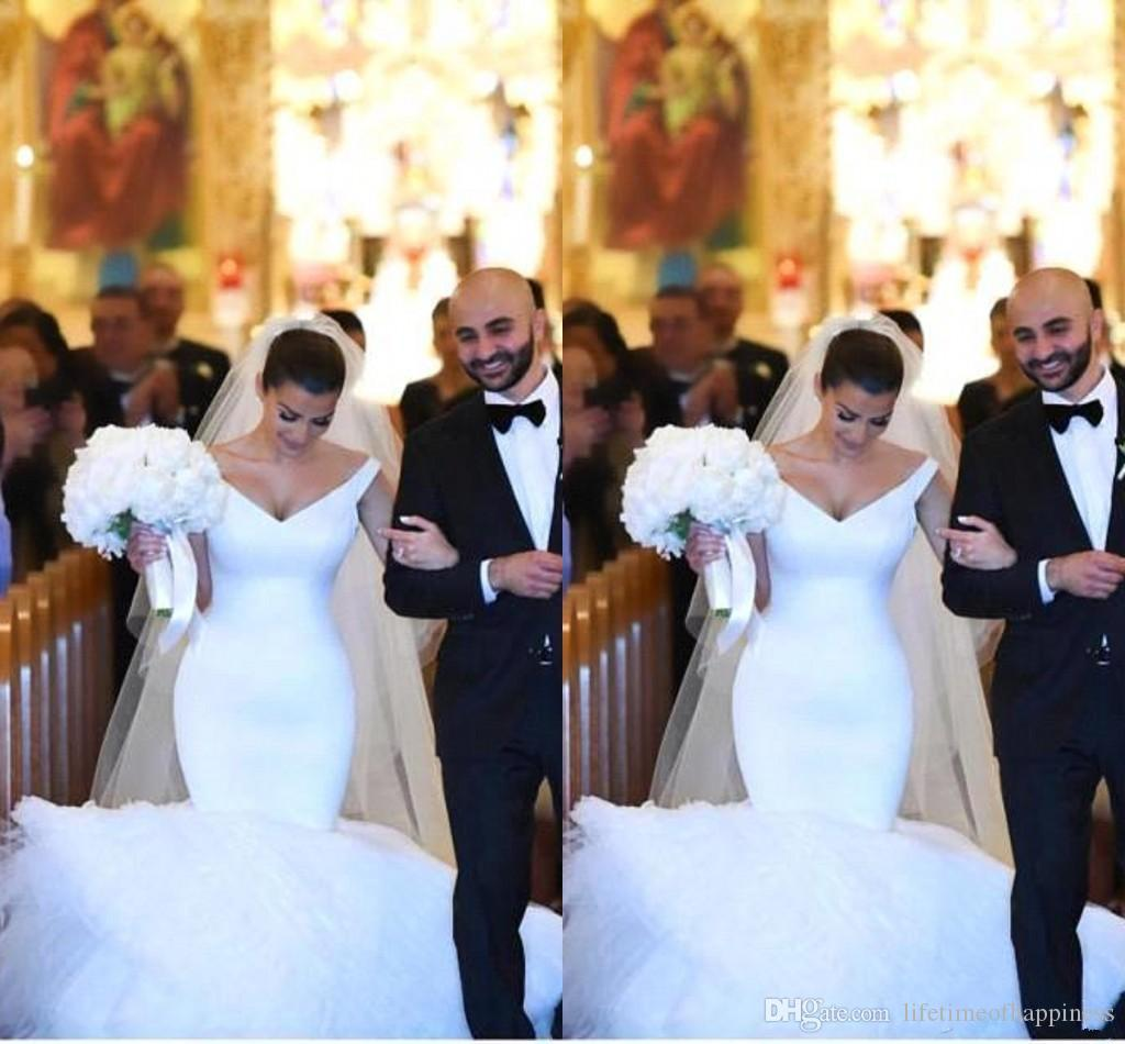 2017 Kim Kardashian Mermaid Wedding Dresses Off Shoulder Tulle Puffy Court Train Party Bridal Gowns 2018 From Lifetimeofhappiness 13071