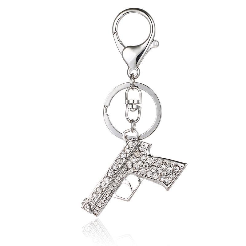 Fashion Silver Color Lobster Clasp Key Rings Dangle Rhinestone Gun Charm Metal Keychains For Men Key Accessories