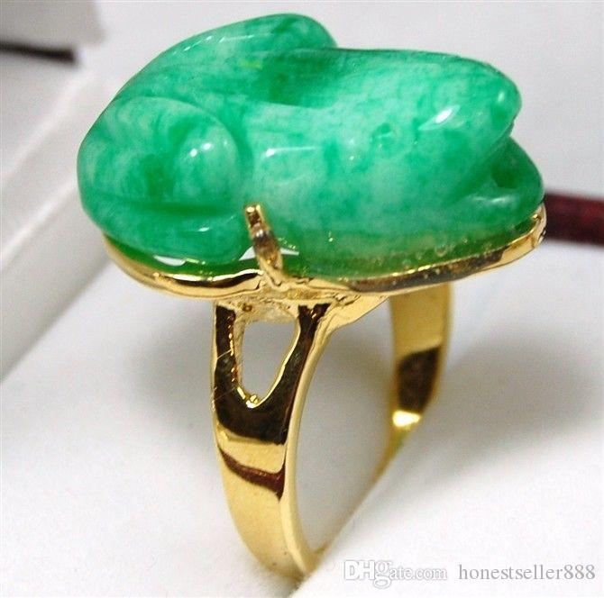 4 colors! facny carved green/purple jade carve frog bless love ring #7,8,9