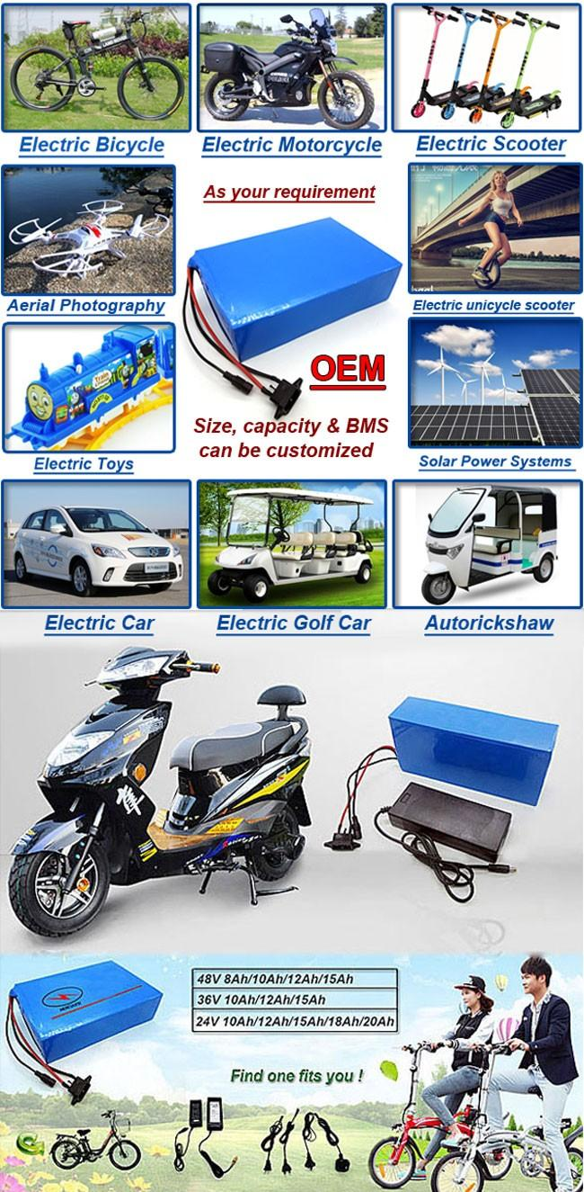 FREE SHIPPING rechargeable electric bike battery packs 24V 12Ah lithium li ion battery pack for 360W scooter motor bicycle 15A bms 2A charger