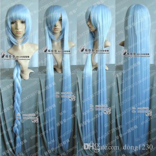 Proje / Eirin / Hannah Cosplay Uzun Buz Mavi Peruk 100 cm Ücretsiz Kargo
