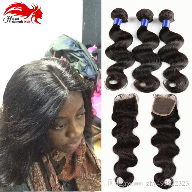 Producto de Hannah Brazilian Body Wave 3 Paquetes con cierre Suave Trama de cabello humano con cierre de visón Pelo brasileño de la Virgen con cierre
