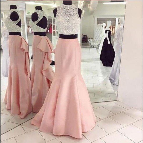 Vestidos 2020 nuevos atractivos de dos piezas de vestidos de baile de la sirena de lujo con cuentas de cultivos fiesta de graduación superior abierta Volver colmenas de las muchachas