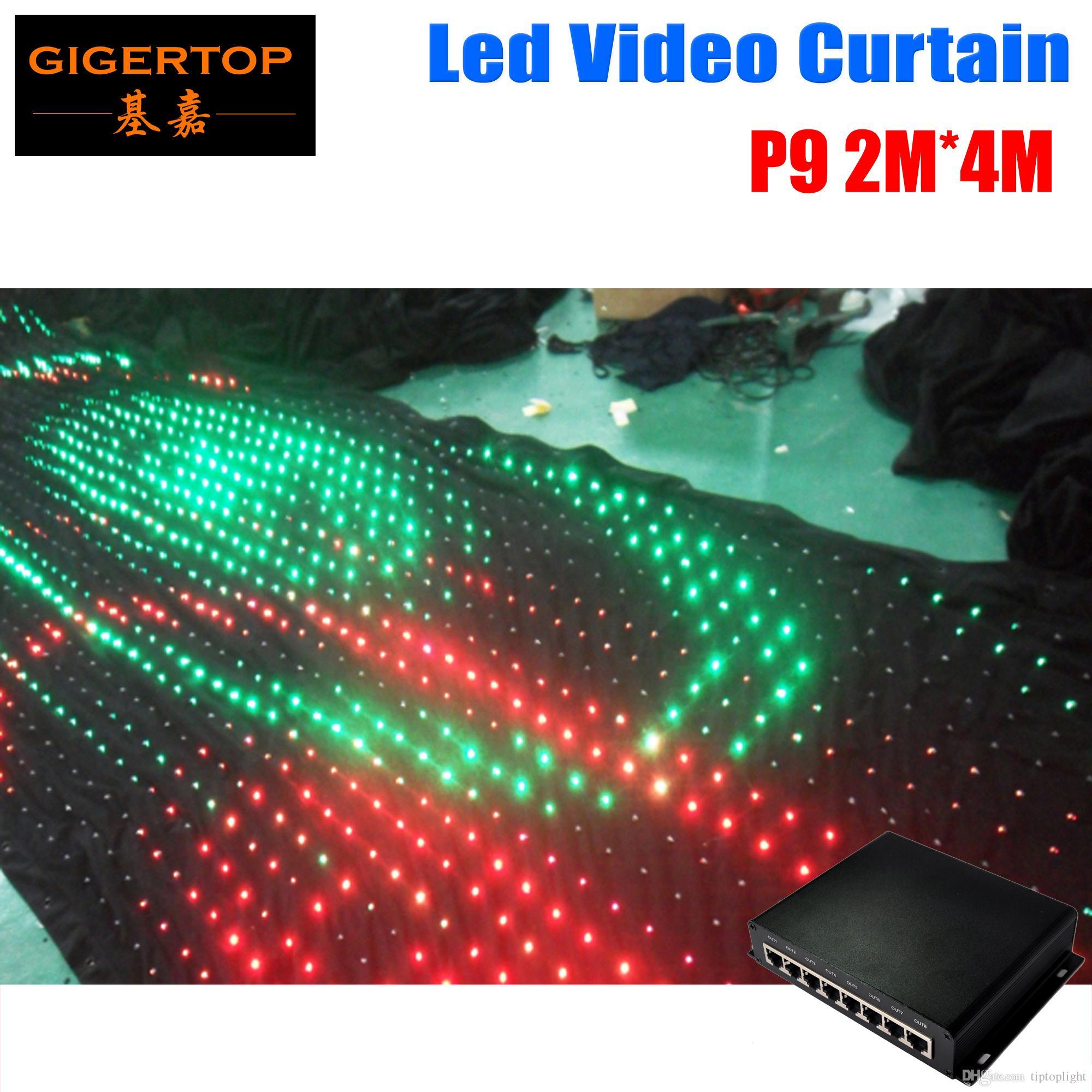 P9 2M * 4M PC وضع تحكم LED فيديو الستار عن خلفية زفاف مخصصة للحريق ضوء الستار DJ مرحلة خلفية