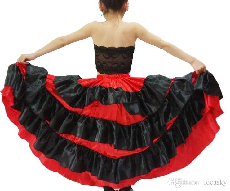 40131413f6634c Acheter Costume Espagnol Fille Longue Rouge Jupe De Salon De Style Flamenco  Pour Filles Enfant Costumes De Danse Noire Pour Enfants Jupes 720 Degré ...