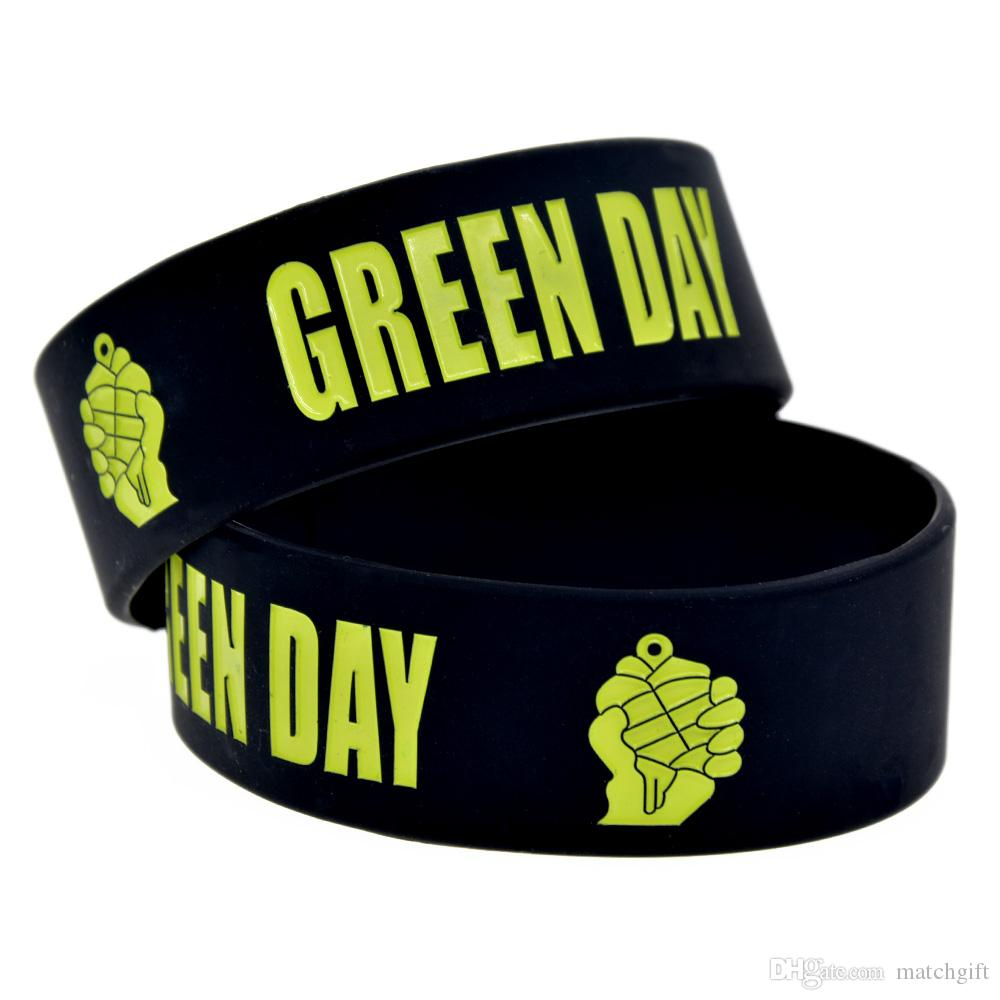 50PCS Punk Style Music Band Green Day One Inch Wide Silicone Rubber Bracelet Black for Promotion Gift