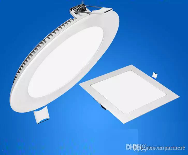 عكس الضوء 6W / 9W / 12W / 15W / 18W / 21W CREE LED أضواء لوحة راحة مصباح جولة / مربعة أدى النازل أضواء السقف داخلي 85-265V + سائق الصمام