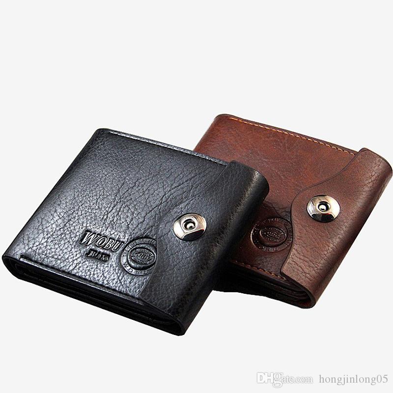 뜨거운 판매 유행 신 남성 PU 가죽 지갑 블랙 브라운 ID 신분증 지갑 카드 지갑 주머니 지갑 무료 배송