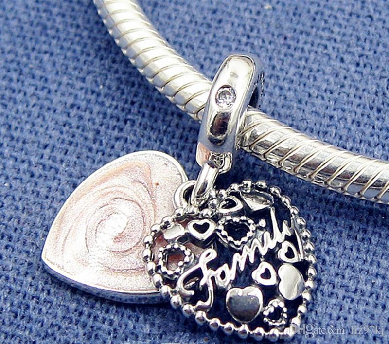 Nowa 925 Sterling Silver Love sprawia, że rodzina Dangle Charm Koralik z emalią pasuje do europejskich bransoletek biżuterii Pandora