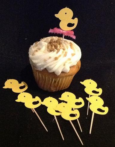 Custom cute Gender Neutral Baby Shower Yellow Duck Cupcake picks Birthday Cupcake Topper, wedding Party Supplies Decoration Festive