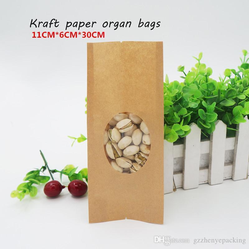 Sacchetti dell'organo di carta di seta di 11 * 6 * 30cm 14 Seta, finestra trasparente / immagazzinaggio dell'alimento, borse di imballaggio del fagiolo di caffè bustine di tè. Spot 100 / pacchetto