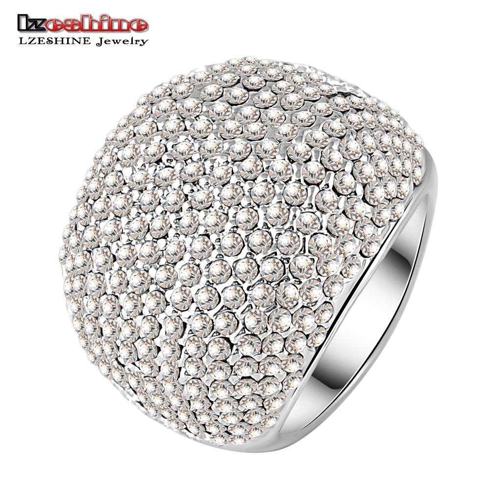 LZESHINE Marca Venda Quente Completa Anel De Perfuração De Prata Banhado A Prata Nobre Anéis para Senhoras Partido anillos Ri-HQ0043