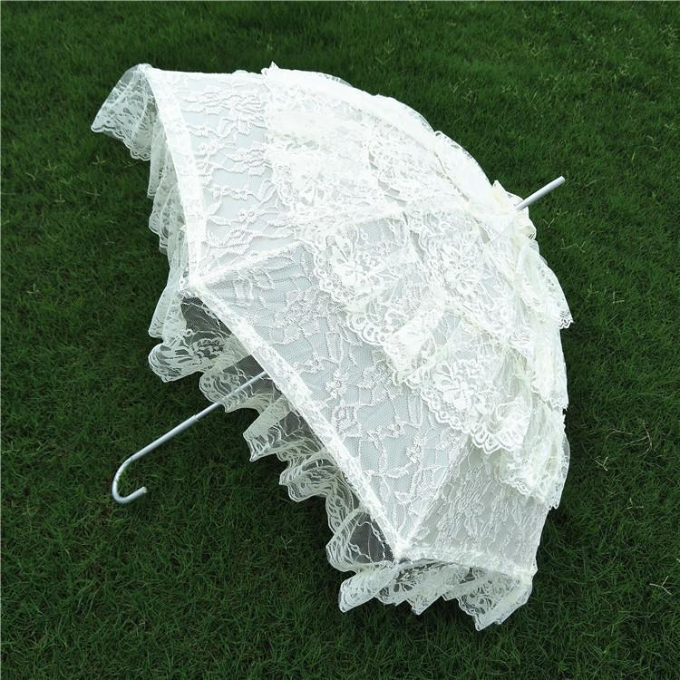 Parasol de encaje elegante Fiesta de Boda Retro Paraguas bordado hecho a mano de la vendimia Nostálgico romántico accesorios de fotos de estilo