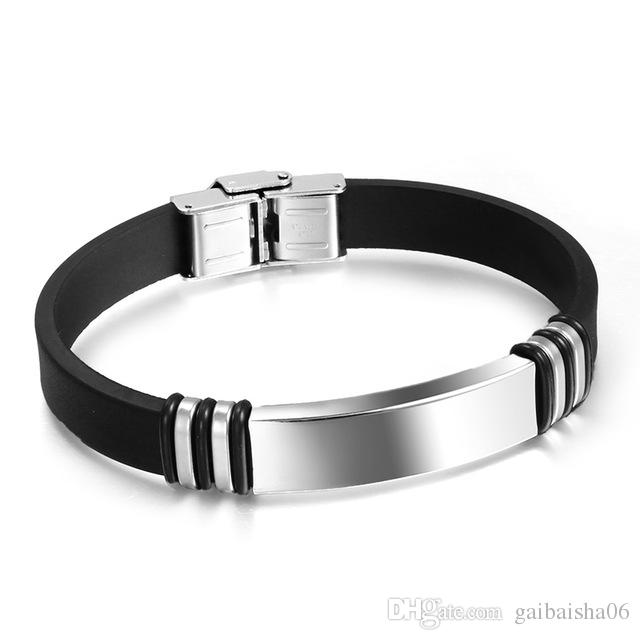 Black Personality Men Bracelet Stainless Steel & Silicone Bracelets Men Jewelry Accessories For Best Friends Wristband