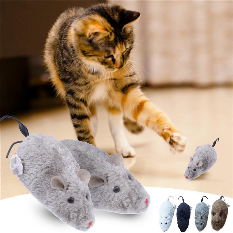 Kedi Köpek Pet Hayvanlar için sıcak Clockwork Fare Oyuncak Evcil Kedi Çocuklar Oyuncak İçin Sevimli Peluş Sıçan mekanik Hareket Sıçanlar