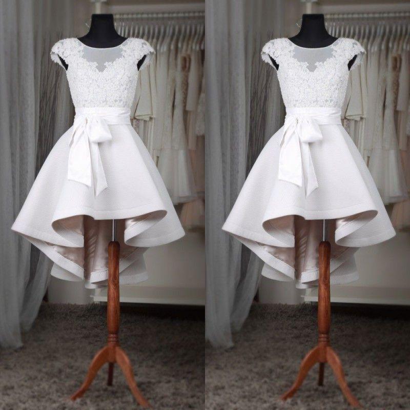 Real Photos 2017 Modest Short Beach Wedding Dresses Cheap Sheer Neck V Back Zipper With Sash High Low Country Bridal Gowns Custom EN6283
