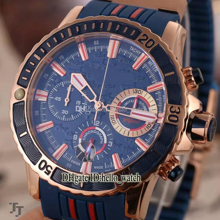 Cheap New Diver 1502-151LE-3/93 MARTELO Tubarão Hammerhead Azul Dial Quartz Chronograph Mens Relógio de Borracha Strap Rose Gold Gents Relógios